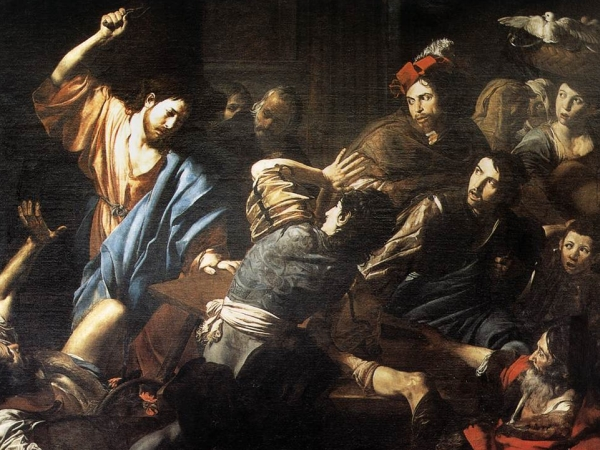 Christ Driving the Money Changers Out of the Temple (Valentin de Boulogne, 1618)